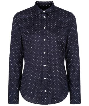 Women's GANT Polkadot Stretch Broadcloth Banker Shirt - Marine