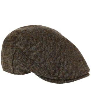Heather Highland Harris Tweed Flat Cap - Green / Brown HB