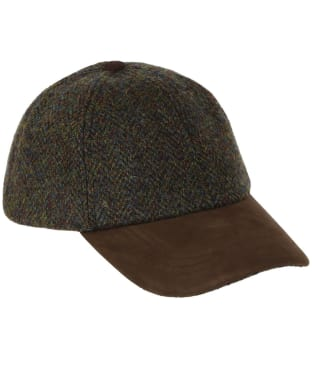 Heather Glencairn Harris Tweed Leather Peak Baseball Cap - Forest