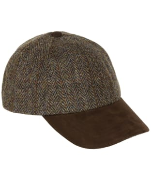 Heather Glencairn Harris Tweed Leather Peak Baseball Cap - Green / Brown HB