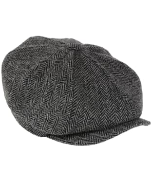 Heather Scott Harris Tweed Newsboy Cap - Black / Grey
