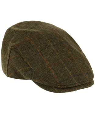 Heather Kinloch Waterproof British Tweed Flat Cap - Brown / Orange Check