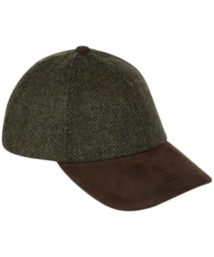 Heather Tyndrum British Tweed Leather Peak Baseball Cap - Green HB
