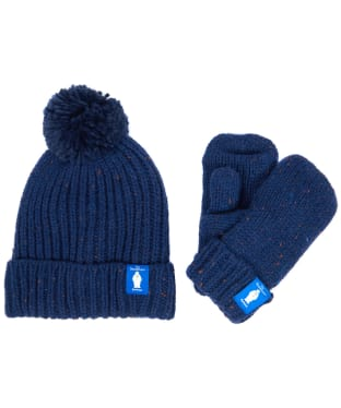 Barbour Kids 'The Snowman™' Asthon Beanie and Mitt Gift Set - Navy