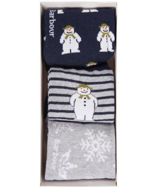 Barbour Kids 'The Snowman™' Layton Sock Gift Set - Navy / Grey