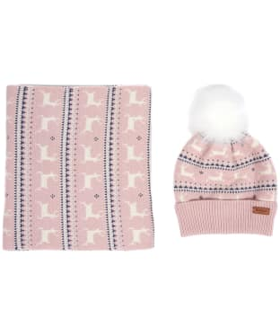 Women's Barbour Deer Fairisle Hat & Scarf Giftset - Pink