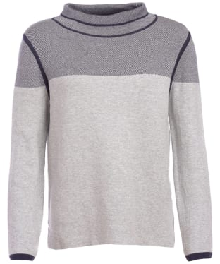 Women's Barbour Globe Knitted Sweater - Pale Grey Marl / Navy