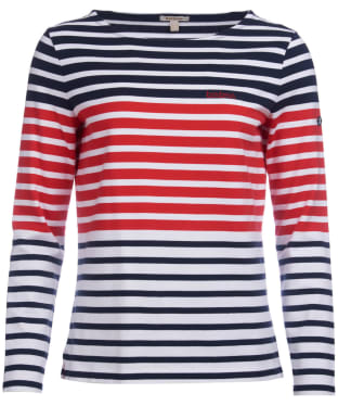 Women's Barbour Tellin Top - Navy / Coastal Red