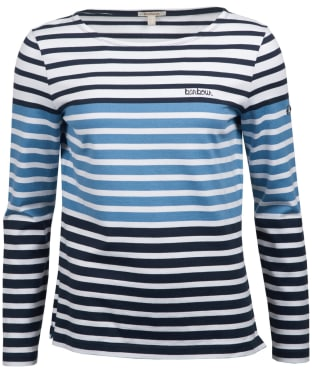 Women's Barbour Tellin Top - White / Breeze Blue / Navy