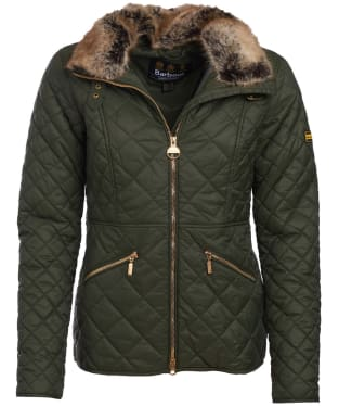 Women's Barbour International Corner Quilted Jacket - Moto Green