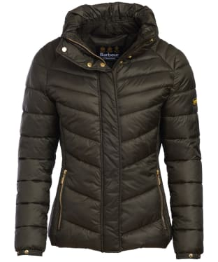 Women's Barbour International Camier Quilted Jacket - Moto Green