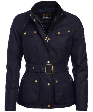 Women's Barbour International Oulton Waxed Jacket - Royal Navy