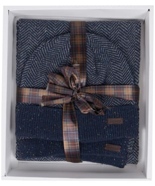 Men's Barbour Herringbone Knitted Hat and Scarf Giftset - Navy
