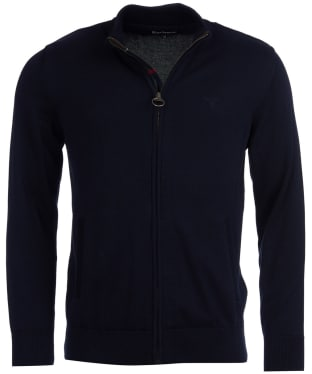 Men's Barbour Cotton Zip Thru Knitted Sweater Jacket - Navy