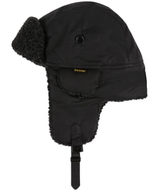 Men's Barbour Fleece Lined Trapper Waxed Hat - Black