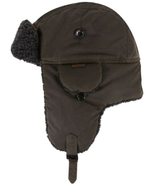 Men's Barbour Fleece Lined Trapper Waxed Hat - Olive