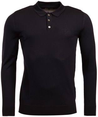 Men's Barbour Merino Long Sleeve Polo Top - Black