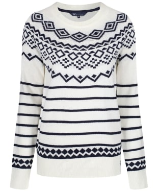 Women's Crew Clothing Fairisle Jumper - White / Navy