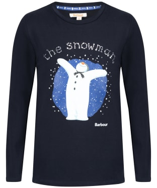Girl's Barbour 'The Snowman™' Chloe Tee, 2-9yrs - Navy