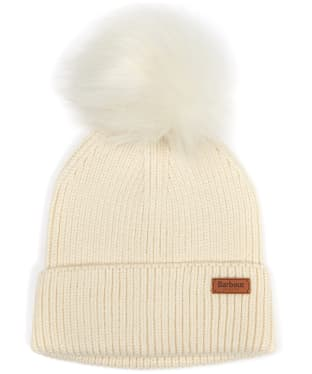 Women's Barbour Dover Pom Beanie Hat - Cream