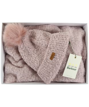 Women's Barbour Boucle Hat & Scarf Giftset - Pink