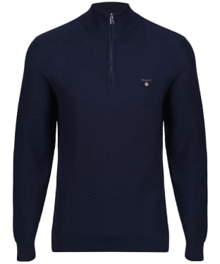 Men's GANT Herringbone Half Zip Sweater - Marine