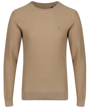 Men's GANT Herringbone Crew Sweater - Wood Brown