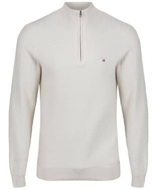 Men's GANT Herringbone Half Zip Sweater - Putty