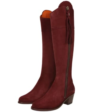 Women's Fairfax & Favor Heeled Regina Boots - Oxblood Suede