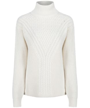 Women's GANT Cable Turtleneck Sweater - Eggshell