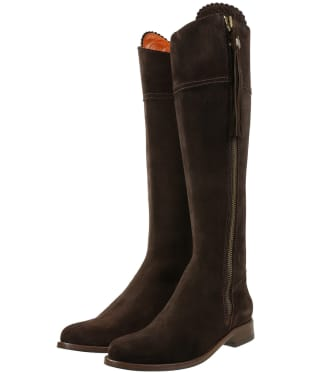 Women's Fairfax & Favor Flat Regina Boots - Chocolate Suede