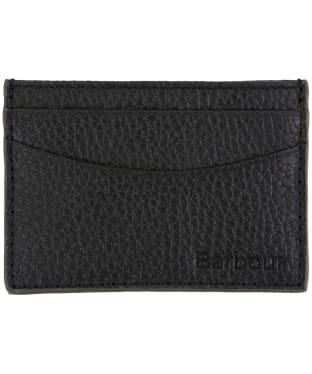 Men's Barbour Grain Leather Card Holder - Black