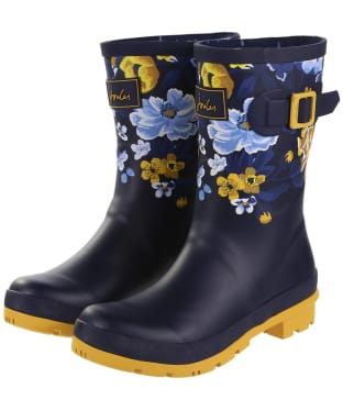 Women's Joules Molly Welly Mid-Height Wellington Boots - Navy Botanicals