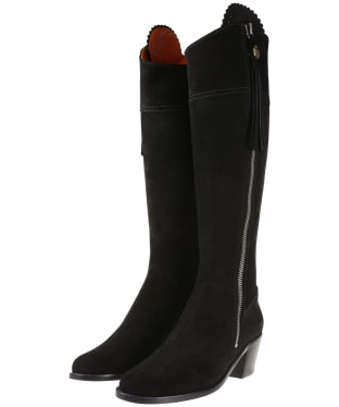 Women's Fairfax & Favor Heeled Regina Boots - Black Suede