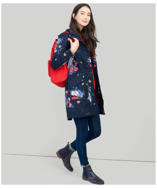 Women's Joules Raine Printed Waterproof Jacket - Navy Floral