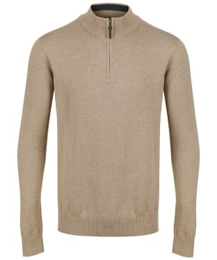 Men's Joules Hillside Zip Neck Jumper - Camel Marl
