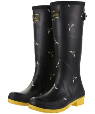 Women's Joules Printed Wellington Boots - Black Botanical Bees