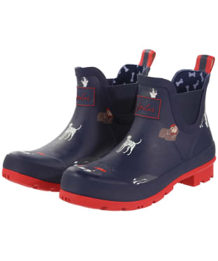 Women's Joules Wellibob Short Printed Wellies - Navy Dogs