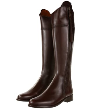 Women's Fairfax & Favor Regina Flat Leather Boots - Mahogany Leather