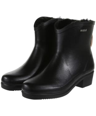 Women's Aigle Miss Juliette Bottillon Faux Fur Lined Ankle Boots - Black