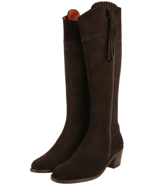 Women's Fairfax & Favor Heeled Regina Boots - Chocolate Suede