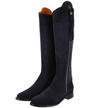 Women's Fairfax & Favor Flat Regina Boots - Navy Blue Suede