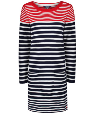 Women's Joules Freida Knitted Tunic Top - Navy / Creme / Red
