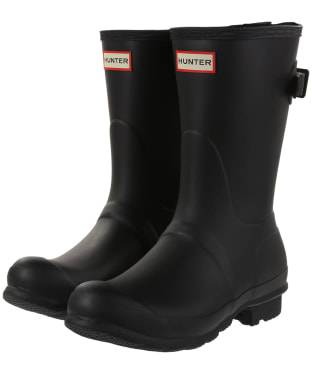 Women's Hunter Original Back Adjustable Short Wellingtons - Black