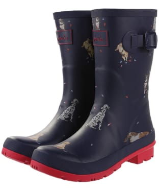 Women's Joules Molly Welly Mid Height Wellingtons - French Navy Dogs In Leaves