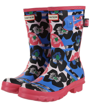 Women's Hunter Original Floral Stripe Short Wellingtons - Floral Stripe / Peony