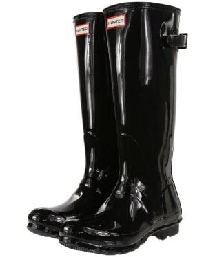Women's Hunter Original Back Adjustable Gloss Wellingtons - Black