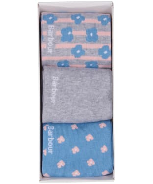 Women's Barbour Mini Floral Sock Gift Set - Blue / Grey