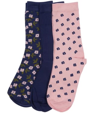 Women's Barbour Floral Sock Gift Set - Pink / Navy
