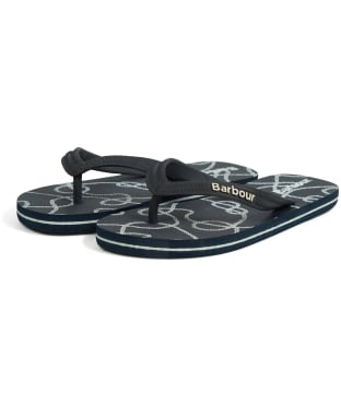 Women's Barbour Rope Print Beach Sandals - Navy